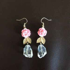 Rose and rhinestone dangle earrings never worn